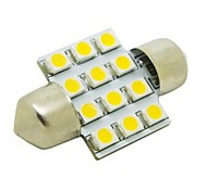 31mm 1W 12x3528 SMD 50lm 2800~3200K Warm White Light LED Bulb for Car Festoon Dome Reading Lamp (DC 12V)