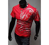 Hombres de cuello redondo de Ethnic Print Fashion T-Shirt