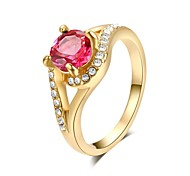cheap -Women's Crystal / Gold Plated Statement Ring - Fashion Green / Pink Ring For Wedding / Party / Casual