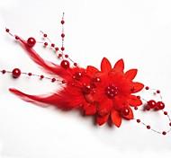Недорогие -Мода невесты перо головной убор цветок Шпилька