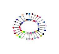 Lureme®316L Surgical Titanium Steel+UV Pattern Navel Ring Tongue stud(Random Color)