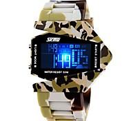 SKMEI Муж. Спортивные часы Армейские часы электронные часы Кварцевый Цифровой Японский кварц LED LCD Календарь Секундомер Защита от влаги