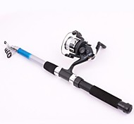 2.1m  Portable Telescope Spinning Fishing Rod Set 3 Ball Bearings 0.3mm/90m Line 5.2:1 Gear Ratio