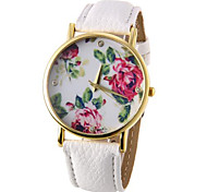 cheap -Women's Quartz Wrist Watch Casual Watch PU Band Flower Fashion Black White Blue Red Brown Green Rose