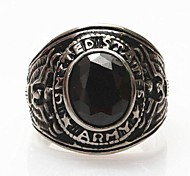 Z&X®  Men's Fashion Black Stones Titanium Steel Ring Christmas Gifts