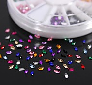cheap -600PCS 12Colours Horse Eye Shape Acrylic Rhinestones Wheel Nail Art Decoration