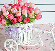 """9.2""""H Rose Bud in Bike Design Basket Decoration"""