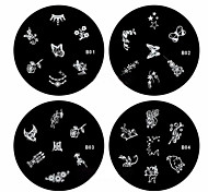 cheap -1PCS Nail Art Stamp Stamping Image Template Plate B Series NO.1-4(Assorted Pattern)
