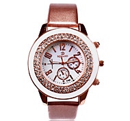 персональный подарок женской белый циферблат из нержавеющей PU Группа аналогового выгравированы часы