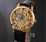 Недорогие -Элегантный Золотой Скелет Черный Кожаный ремешок Руководство Мужская Механические наручные часы