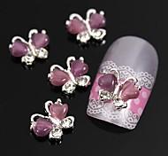 10шт летающие бабочка с глаз каменной 3d сплава украшения искусства ногтя фиолетовый кошки