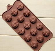 15 Hole Sunflower Shape Cake Ice Jelly Chocolate Molds,Silicone 22×10.5×1.5 CM(8.7×4.1×0.6 INCH)