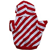 cheap -Cat Dog Hoodie Dog Clothes Stripe Red Cotton Costume For Pets Men's Women's Casual/Daily