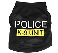 Cat Dog Shirt / T-Shirt Dog Clothes Summer Spring/Fall Police/Military Cute Fashion Black Blue Pink