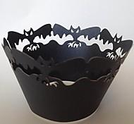 Недорогие -Хэллоуин летучая мышь кекс обертки, лазерная резка, вечере украшения 60pcs