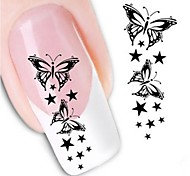 cheap -1pcs Water Transfer Sticker 3D Nail Stickers Nail Stamping Template Daily Flower Abstract Fashion High Quality