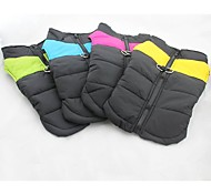 Dog Coat Vest Yellow Green Blue Pink Dog Clothes Winter Spring/Fall Color Block Keep Warm Windproof