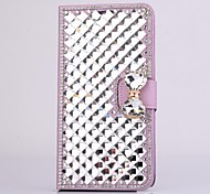 Fashion Crystal Diamond Leather Camellia Full Body Case with Stand for Samsung Galaxy Note 4