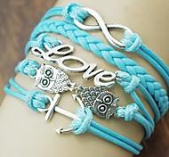 Shixin® Fashion 18cm Women's Anchor Owl Number 8 Love Alloy PU Cord Wrap Bracelet (Blue) (1 Pc)