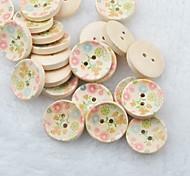 Flower Drawing Scrapbook Scraft Sewing DIY Wooden Buttons(10 PCS)