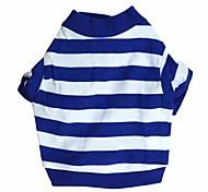 cheap -Cat Dog Shirt / T-Shirt Dog Clothes Stripe Blue Cotton Costume For Pets
