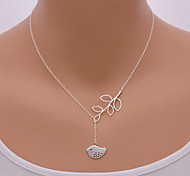 cheap -Women's Bird Leaf Pendant Necklace  -  Cute Style Adjustable Animal Silver Necklace For Party Daily Casual