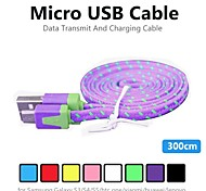 3m V8 Micro USB Tenacity Nylon Noodle Data Cable for Samsung and Other Phone (Assorted Colors)