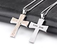 Недорогие -персонализированные кросс подарок формирует ювелирные изделия нержавеющей стали выгравирован кулон ожерелье с 60 см цепи
