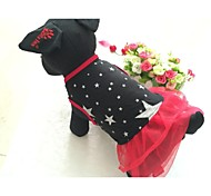 Dog Dress Dog Clothes Casual/Daily Stars Black Red Costume For Pets