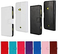 Solid Color PU Leather Full Body Case with Stand and Card Slot for Nokia Lumia 625