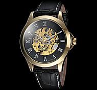 Недорогие -FORSINING Муж. Наручные часы Механические часы С автоподзаводом С гравировкой Кожа Группа Роскошь Черный Коричневый