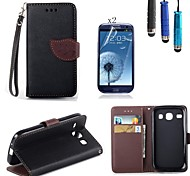 Leaves PU Leather with Touch Pen and Protective Film 2 Pcs for Samsung Galaxy Core I8262
