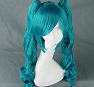 Cosplay Wigs Vocaloid Hatsune Miku Blue Medium Anime/ Video Games Cosplay Wigs 75 CM Heat Resistant Fiber Female