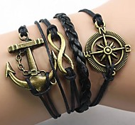 Lureme European Style Men's Anchor Black Compass Eight Characters Woven Bracelet Christmas Gifts