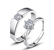 Кольца Для пары Бриллиант Серебро Серебро Серебро Цвет украшений  как на фотографии