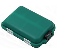 MINI Green Double-faced 10 Squares Fishing Tool Plastic Boxes for Fishing Parts 10 Compartments Portable Fishing Tackle Box