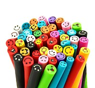 50PCS Happy Smile Face Pattern 3D Cane Stick Rod Sticker Mixs Color Nail Art Decoration