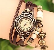 preiswerte -Damen Quartz Armband-Uhr Armbanduhren für den Alltag PU Band Böhmische Eule Modisch Schwarz Weiß Blau Rot Orange Braun Grün
