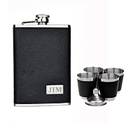 Personalized Gift Black 9oz Stainless Steel Hip Flask Set