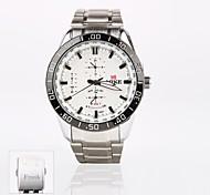 персональный подарок новый стиль мужской белый циферблат из нержавеющей стальной ленты спорт аналоговый выгравированы часы