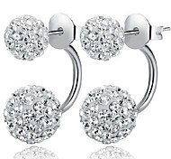 Women's Stud Earrings Front Back Earrings Costume Jewelry Classic Simple Style Sterling Silver Cubic Zirconia Imitation Diamond Ball