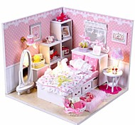 cheap -Mini-Villa Pink LED Light Princess Bedroom Model DIY Handmade Wooden Doll House