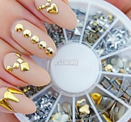 cheap -240PCS Nail Art Golden Mixed Rivet Shapes Acrylic Rhinestone
