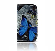 Недорогие -Для Кошелек / Бумажник для карт / со стендом / Флип / С узором Кейс для Чехол Кейс для Бабочка Твердый Искусственная кожа SamsungTrend