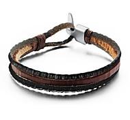 Недорогие -мода многослойные мужчины кожаный браслет
