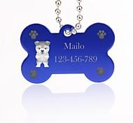 Недорогие -персональный подарок форме кости, серебра животное имя ID тегов с цепью для собак