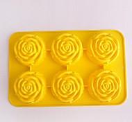 6 Hole Rose Shape Cake Ice Jelly Chocolate Molds,Silicone 27.5×18×3.6 CM(11.8×7.1×1.4 INCH)