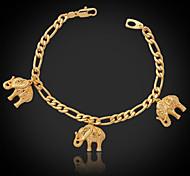 Недорогие -u7® прохладно слоны прелести браслет Фигаро цепочка 18k реальное позолоченные Мода Ювелирные подарок для женщин мужчин 21см