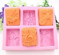 Недорогие -фортепиано гитара ноты форму помады торт шоколадный силиконовые формы торт украшение инструменты, l13.7cm * w11.6cm * h2.8cm