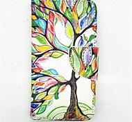 Недорогие -счастливы рисунок дерева PU кожаные чехлы полное тело с слот для карт и ПОВ по s4 мини i9190